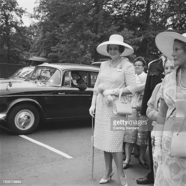 Begum Om Habibeh Aga Khan , the fourth wife of Sir Sultan Mahomed Shah, Aga Khan III, at Ascot racecourse, UK, 15th June 1965. She was born Yvonne...