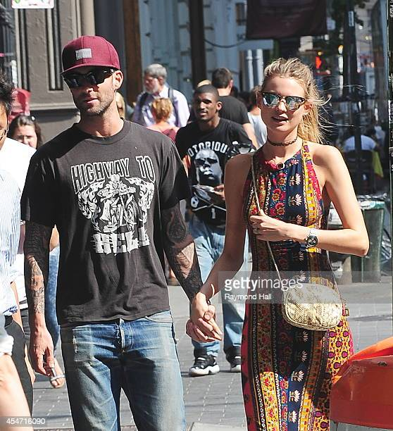Behati Prinsloo and Adam Levine are seen in Soho on September 5, 2014 in New York City.