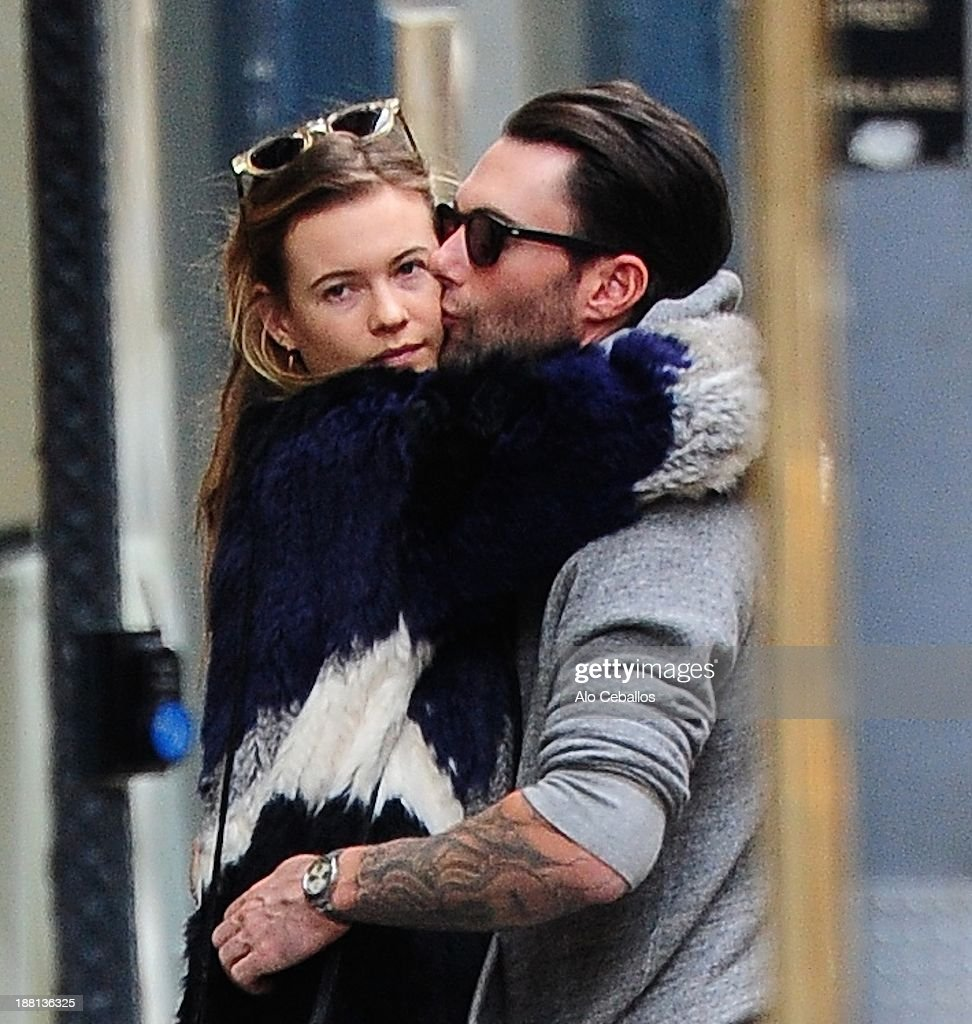 Behati Prinsloo and Adam Levine are seen in the West Village on November 15, 2013 in New York City.
