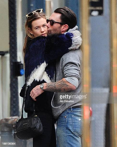 Behati Prinsloo and Adam Levine are seen in the West Village on November 15 2013 in New York City