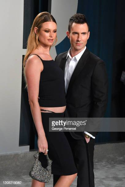 Behati Prinsloo and Adam Levine attend the 2020 Vanity Fair Oscar party hosted by Radhika Jones at Wallis Annenberg Center for the Performing Arts on...