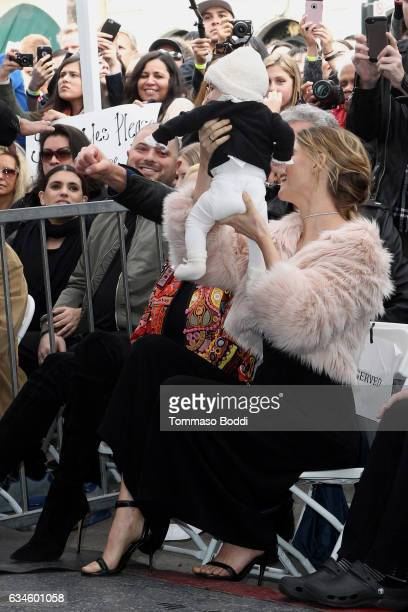 Behati Prinsloo and Dusty Rose Levine attend a ceremony honoring Adam Levine with Star On The Hollywood Walk Of Fame on February 10, 2017 in...