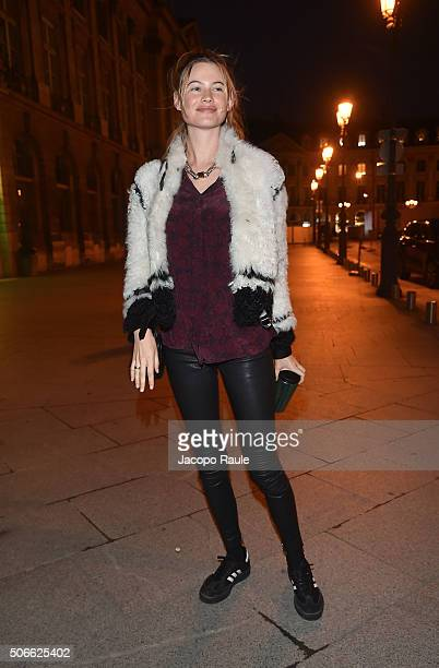 Behati Prinsloo arrives at the Versace fashion show as part of Paris Fashion Week Haute Couture Spring/Summer 2016 on January 24 2016 in Paris France