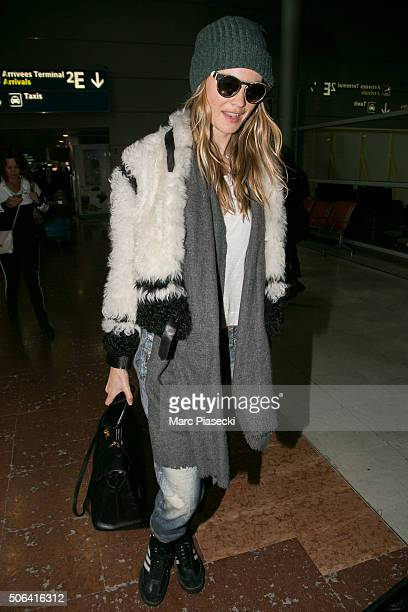Behati Prinsloo is seen at CharlesDeGaulle airport on January 23 2016 in Paris France