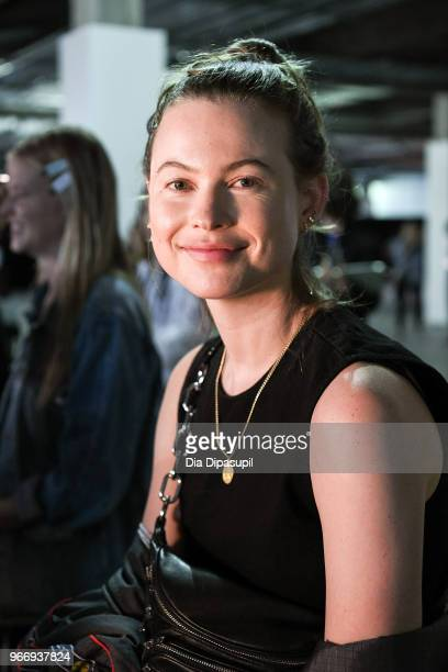 Behati Prinsloo prepares backstage at the Alexander Wang June 2018 fashion show at Pier 17 on June 3 2018 in New York City