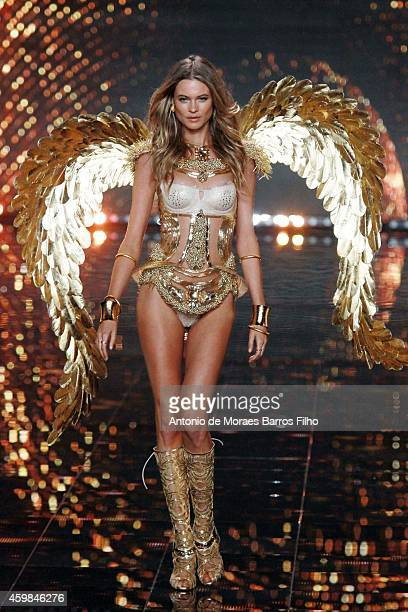 Behati Prinsloo walks the runway at the annual Victoria's Secret fashion show at Earls Court on December 2 2014 in London England