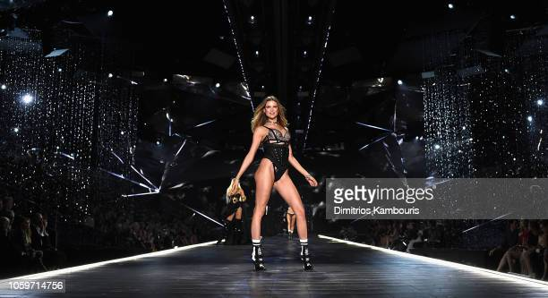 Behati Prinsloo walks the runway during the 2018 Victoria's Secret Fashion Show at Pier 94 on November 8, 2018 in New York City.