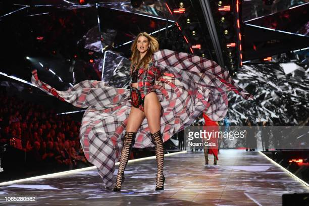 Behati Prinsloo walks the runway during the 2018 Victoria's Secret Fashion Show at Pier 94 on November 08, 2018 in New York City.