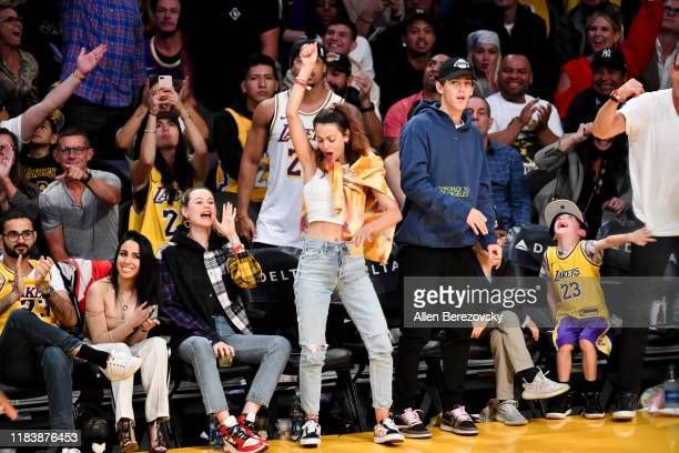 Behati Prinsoo and Whitney Harltey Wagner attends a basketball game between the Los Angeles Lakers and the Charlotte Hornets at Staples Center on...