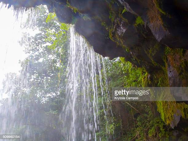 behind a waterfall at the jungle - behind waterfall stock pictures, royalty-free photos & images