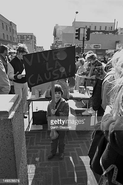 Behind an information booth a young protester holds up a picket sign that reads 'Vive la Causa' during a demonstration on the campus of the...