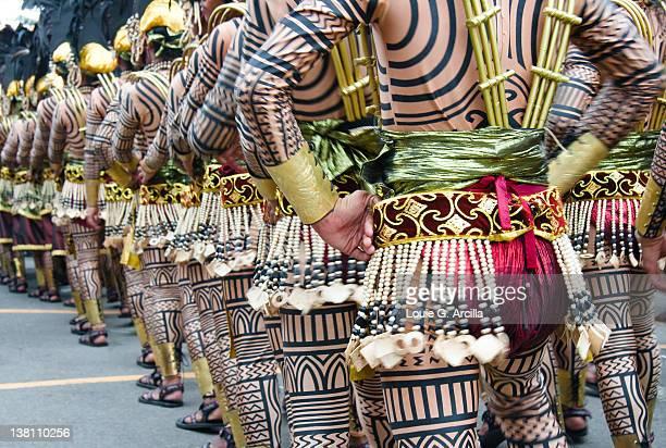 behind cebu sinulog festival dancers - sinulog festival stock photos and pictures