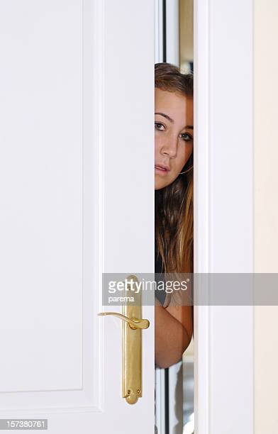 behind the door - stranger stock photos and pictures