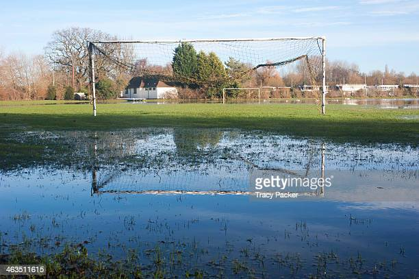 Behind the goalposts of a flooded Football Pitch at Queen's College Sports Ground, Abingdon Road, Oxford. January 14th 2014. Abingdon Road, a main...