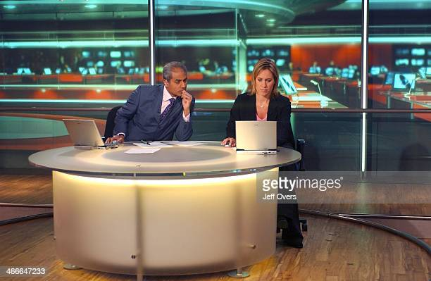 A behind the scene view of George Alagiah and Sophie Raworth on the set of the Six O'Clock News