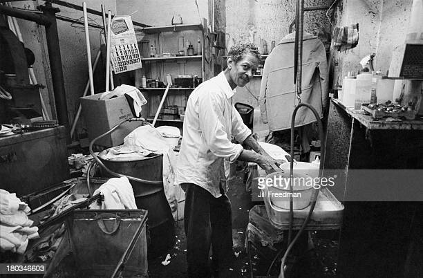 Behind the scenes at a dry cleaners New York City 1981