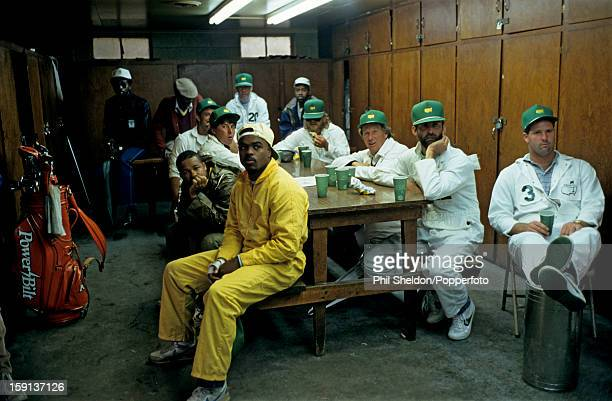 Behind the scenes during the US Masters golf tournament at the Augusta National Golf Club in Georgia USA circa April 1989 The caddies sitting in the...