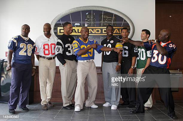 DEAL Behind the Scenes Episode 302 Pictured NFL Players Marshall Faulk of the St Louis Rams Jerry Rice of the San Francisco 49ers Marcus Allen of the...