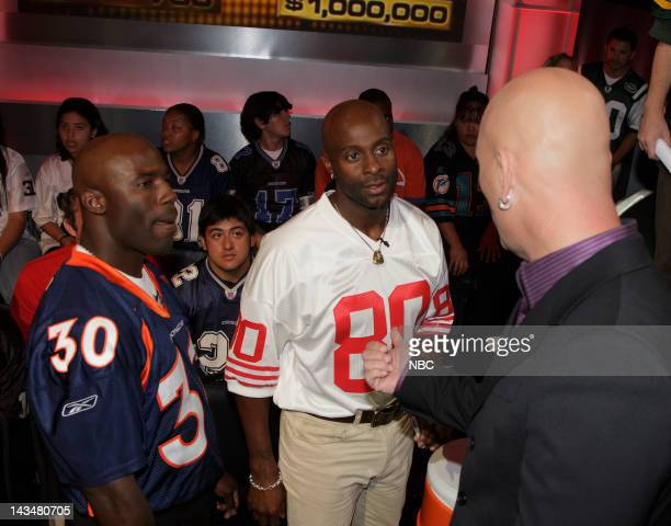 DEAL Behind the Scenes Episode 302 Pictured NFL Players Terrell Davis of the Denver Broncos Jerry Rice of the San Francisco 49ers and host Howie...