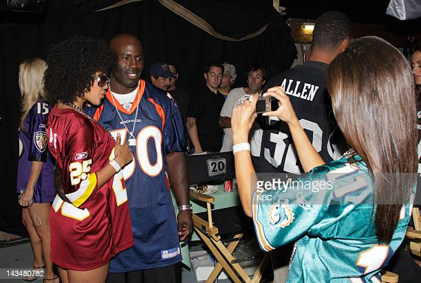 DEAL Behind the Scenes Episode 302 Pictured Suitcase Model Hayley Marie Norman and NFL Player Terrell Davis of the Denver Broncos on July 31 2007