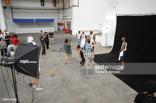 A behind the scenes look as Kobe Bryant of the US Men's Senior National Team poses for a photo in front of the hill of Montjuic on July 20 2012 in...