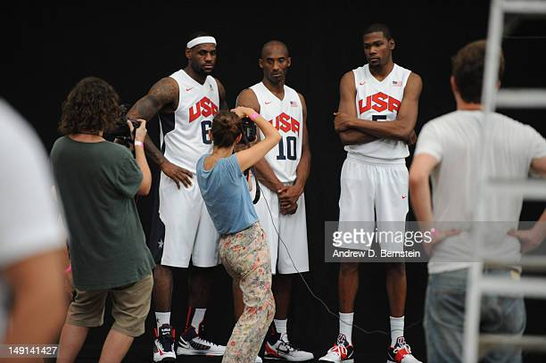 A behind the scenes look as LeBron James Kevin Durant and Kobe Bryant of the US Men's Senior National Team poses for a photo on July 20 2012 in...