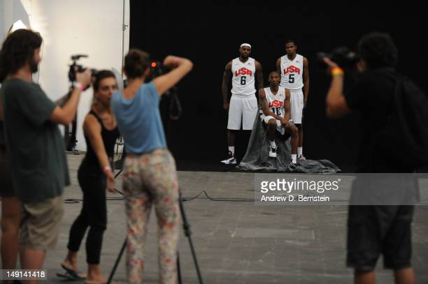 A behind the scenes look as LeBron James Kobe Bryant and Kevin Durant of the US Men's Senior National Team poses for a photo on July 20 2012 in...