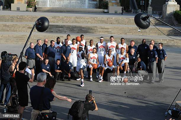 A behind the scenes look as the US Men's Senior National Team poses for a photo in front of the hill of Montjuic on July 20 2012 in Barcelona Spain...