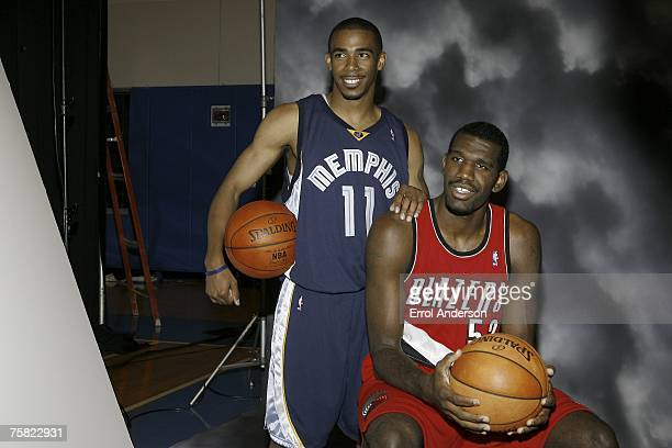 Behind the scenes look at Michael Conley of the Memphis Grizzlies and Greg Oden of the Portland Trail Blazers posing for photo during the 2007 NBA...