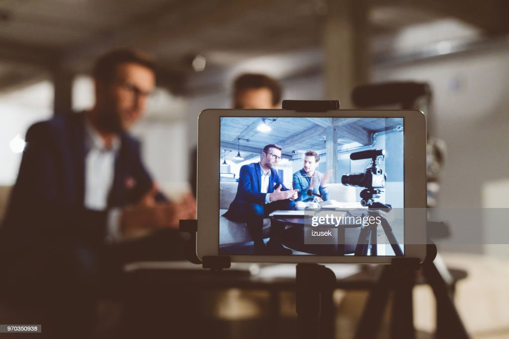 Behind the scenes of a business vlog : Stock Photo