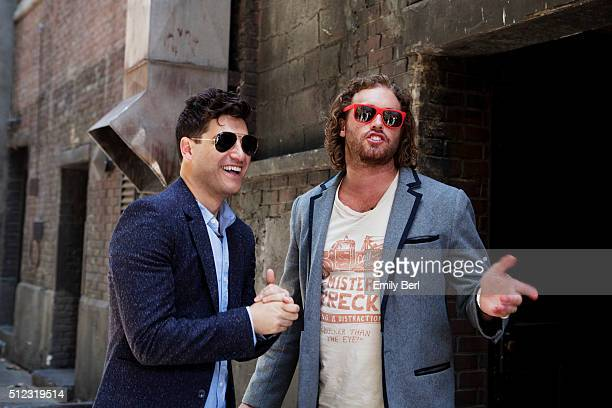 Behind the scenes of Adam Pally and T. J. Miller at the The Hollywood Reporter 2014 Emmy Supporting Actor Portrait BTS at the New York Street at 20th...