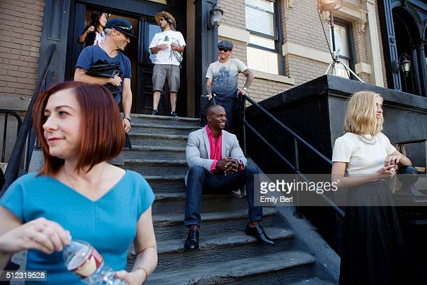 Behind the scenes of Alyson Hannigan and Terry Crews at the The Hollywood Reporter 2014 Emmy Supporting Actor Portrait BTS at the New York Street at...