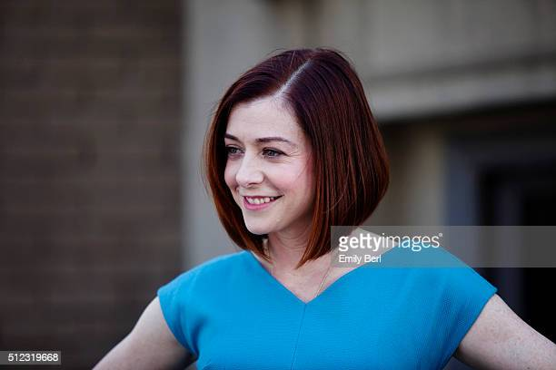 Behind the scenes of Alyson Hannigan at the The Hollywood Reporter 2014 Emmy Supporting Actor Portrait BTS at the New York Street at 20th Century Fox...