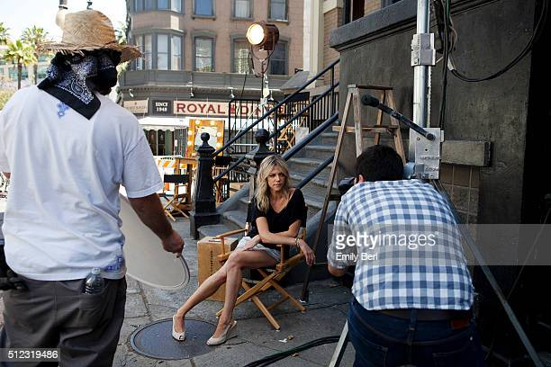 Behind the scenes of Kaitlin Olson at the The Hollywood Reporter 2014 Emmy Supporting Actor Portrait BTS at the New York Street at 20th Century Fox...