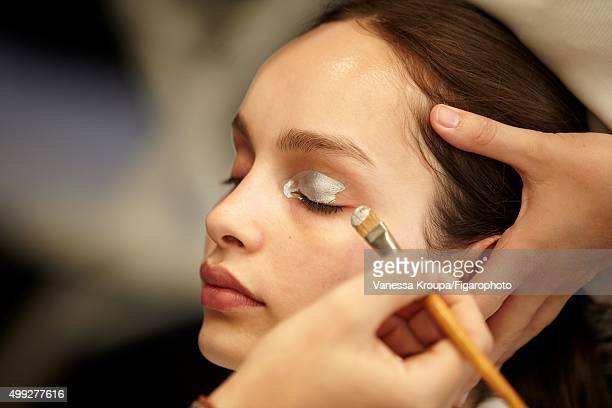 Behind the scenes of model Luma Grothe cover shoot is photographed for Madame Figaro on July 15 2015 in Paris France Pictured Model Luma Grothe...