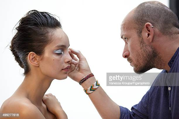 Behind the scenes of model Luma Grothe cover shoot is photographed for Madame Figaro on July 15 2015 in Paris France Pictured Model Luma Grothe gets...