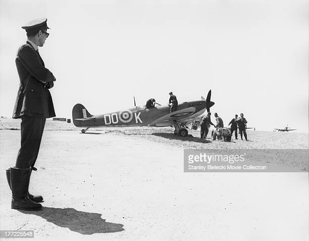 Behind the scenes of 'The Battle of Britain' a British film depicting the World War II air battle 1969
