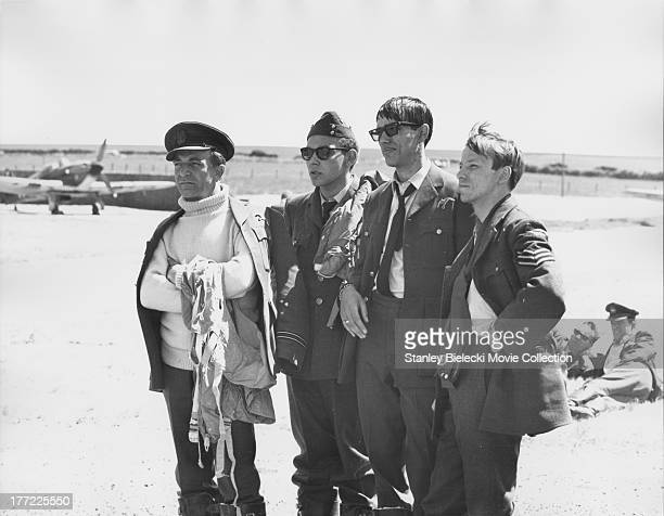 Behind the scenes of 'The Battle of Britain' a British film depicting the World War II air battle showing a group of actors portraying the Polish...