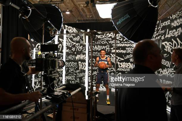 A behind the scenes photo fo Nickeil AlexanderWalker of the New Orleans Pelicans posing for a portrait during the 2019 NBA Rookie Photo Shoot on...