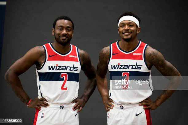 Behind the scenes photo of Bradley Beal and John Wall of the Washington Wizards posing for a photo at media day on September 30, 2019 at the...