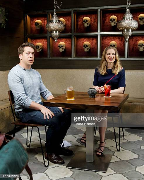 A behind the scenes photo of Greg Gilman and Anna Chlumsky on the set of 'Drinking with the Stars' on June 15 2015 in Los Angeles California