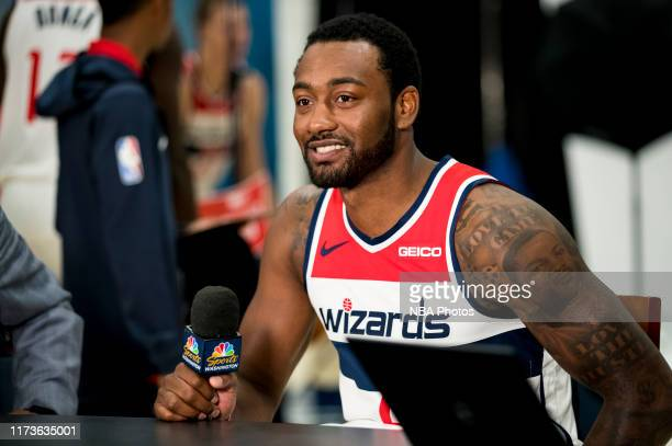 Behind the scenes photo of John Wall of the Washington Wizards talking to the press at media day on September 30, 2019 at the Washington Wizards...