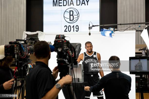 A behind the scenes photo of Kevin Durant of the Brooklyn Nets posing for a portrait at Media Day on September 27 2019 at HSS Training Center in...