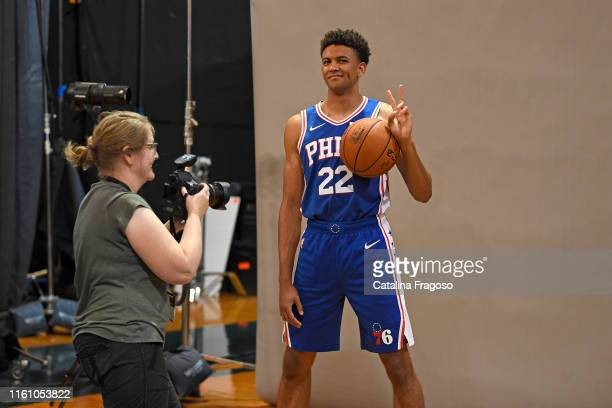 Behind the scenes photo of Matisse Thybulle of the Philadelphia 76ers during the 2019 NBA Rookie Photo Shoot on August 11, 2019 at Fairleigh...