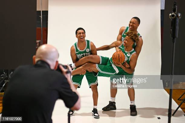 Behind the scenes photo of Tremont Waters, Romeo Landford and Grant Williams of the Boston Celtics posing for a portrait during the 2019 NBA Rookie...