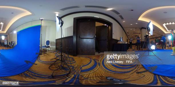 A behind the scenes view of a filming shoot during a portrait session for Cameroon on June 15 2017 in Moscow Russia