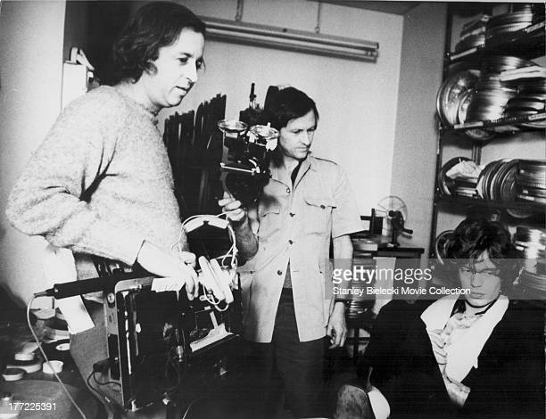 Behind the scenes with documentary filmmakers Albert Maysles and David Maysles as well a musician Mick Jagger on the set of the documentary 'Gimme...