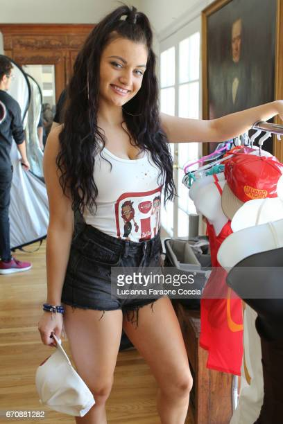 Behind the scenes with Laci Kay in Ijahbor at a day of IMPRESSIONS with brands and influencers at The Artists Project on April 20 2017 in Los Angeles...