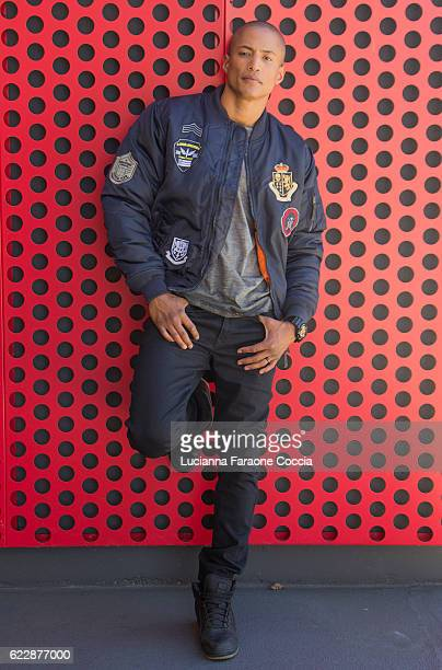 Behind the scenes with model Roberto Crespo at 'Front Row' fashion shoot at The Starving Artists Project on November 12 2016 in Los Angeles California