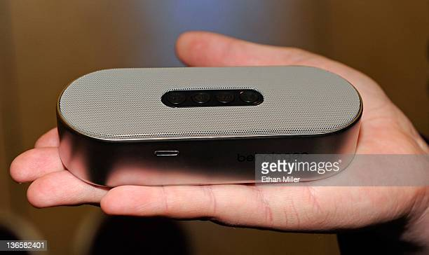 Behringer Mini Blue rechargeable Bluetooth speaker is displayed during a press event at The Venetian for the 2012 International Consumer Electronics...